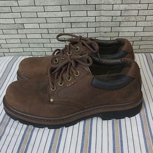 Mens Skechers Tom Cats brown leather shoes 7.5